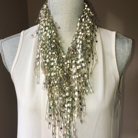 Pearl White Infinity Scarf Necklace - Holiday Special