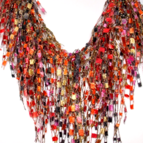 Boho Ladder Yarn Necklace Scarf Gift for Ladies - Garnet Onyx GemLace (Red, Black, Beige, Orange, Pink)