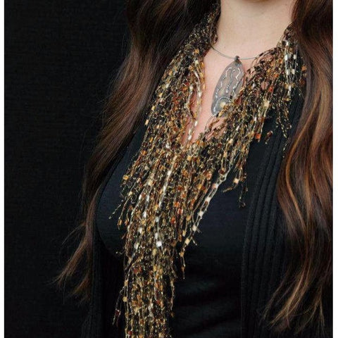 Tiger's Eye GemLace Scarf by Scarf Lady Fashions - Copper Brown Metallic - Ideal Gift