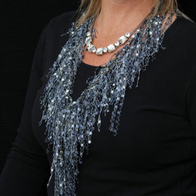 Pearl Onyx GemLace Scarf  by Scarf Lady Fashions - Black and White Metallic - Gift Idea - Unique Alternative to Necklace Jewelry