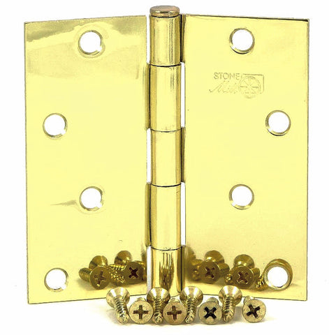 "SMH40SQ-PB   4"" Polished Brass Square Corner Door Hinge - (2 Pack)"