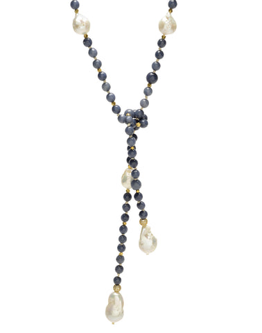 Alice Lariat - blue agate/white