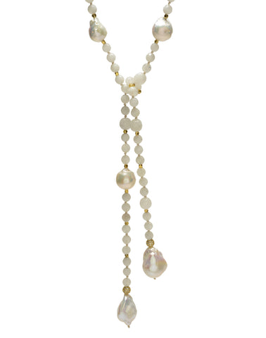 Alice Lariat - white/moonstone