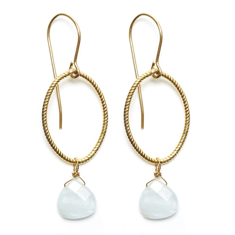 Annika earrings - gold/aquamarine