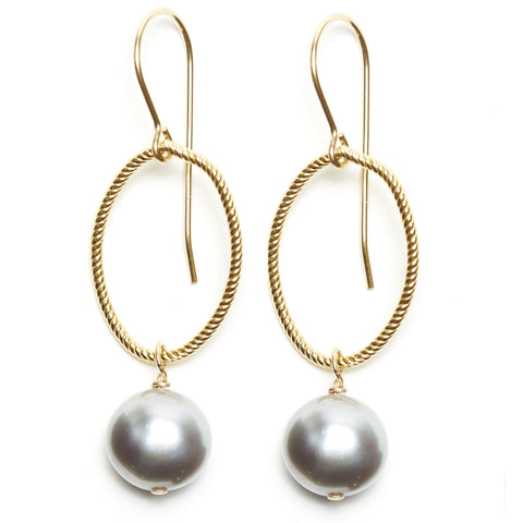 Annika Earrings - gold/grey