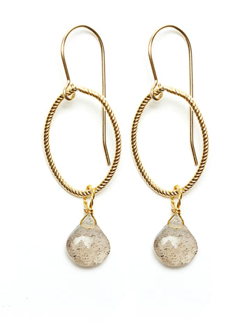 Annika Earrings - gold/labradorite