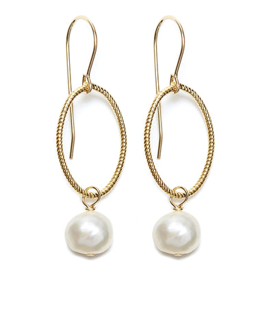 Annika Earrings - gold/white