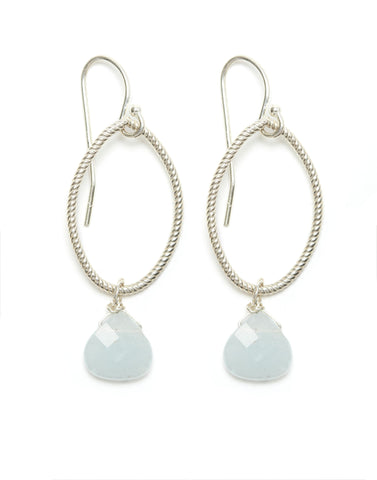 Annika Earrings - silver/aquamarine