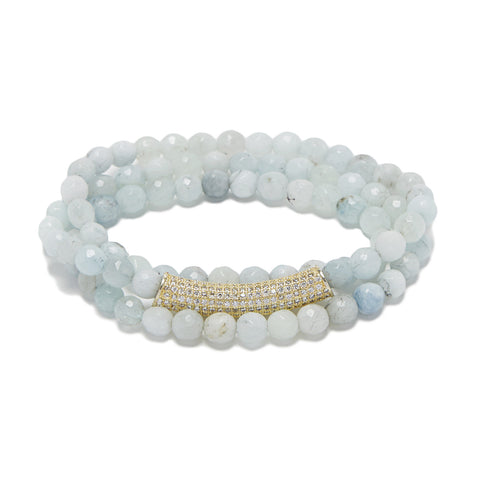Bar Bracelet - gold/aquamarine