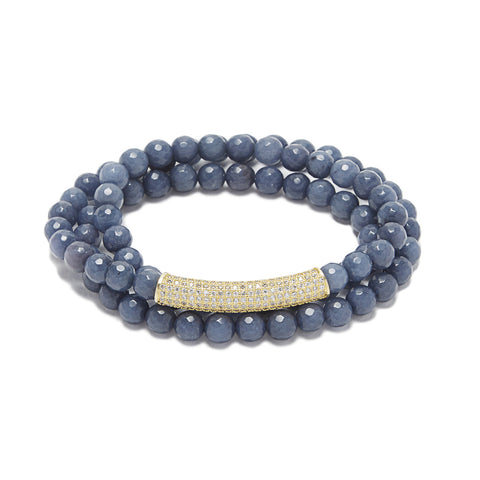 Bar Bracelet - blue agate/gold