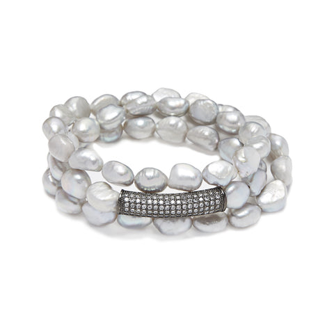 Bar Bracelet - silver/grey pearl