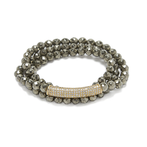 Bar Bracelet - gold/pyrite