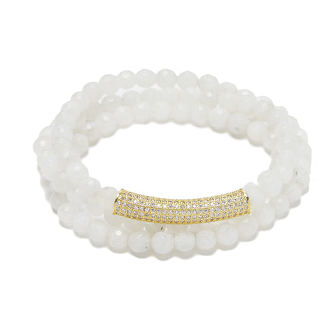 Bar Bracelet - gold/white moonstone