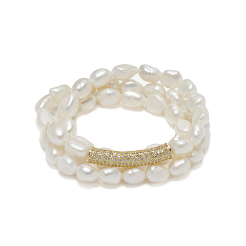 Bar Bracelet - gold/white pearl