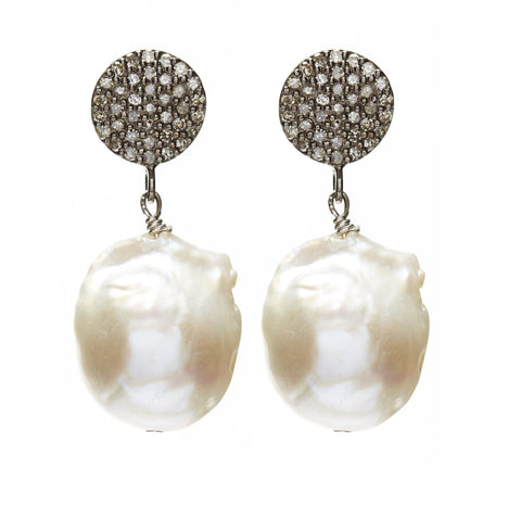 Baroque Diamond Earrings - diamond/silver