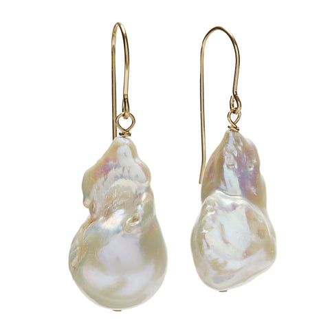Baroque Earrings - gold/white