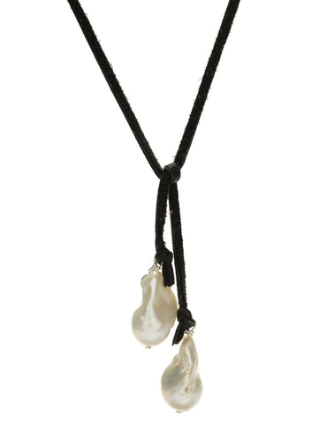 Baroque Lariat - white pearl/black