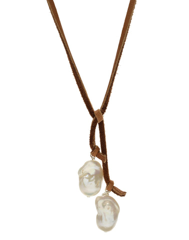 Baroque Lariat - white/light brown