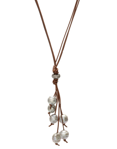 Camilla leather necklace - grey