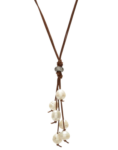 Camilla leather necklace - white