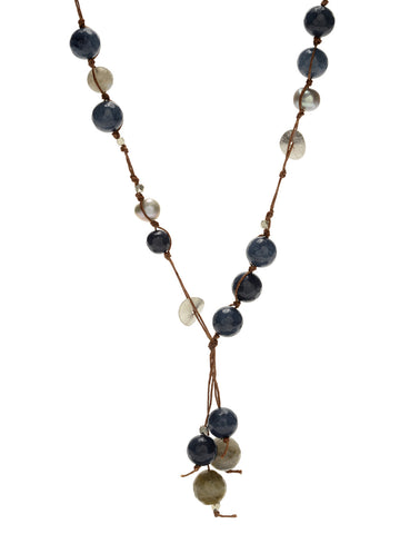 Carola Short Necklace - blue agate/labradorite