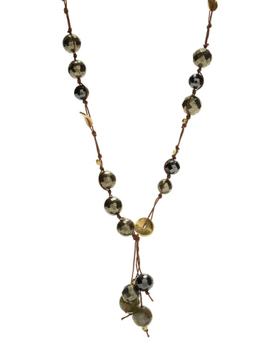 Carola Short Necklace - pyrite/hematite/labradorite