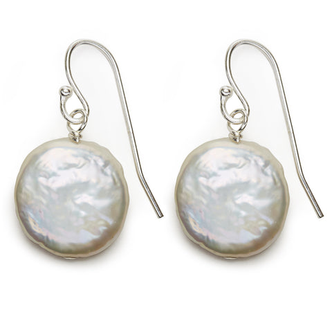 Coin Pearl Earrings - silver/white