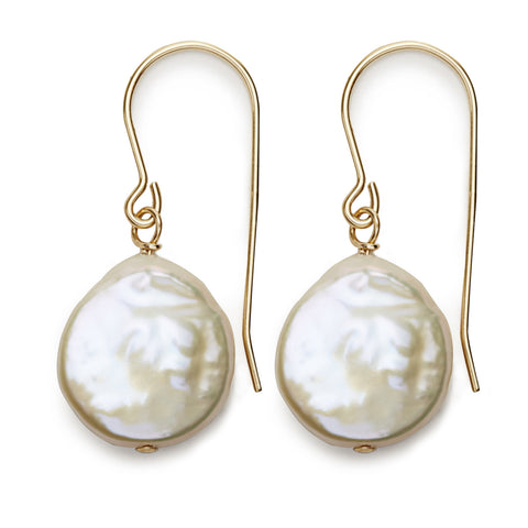 Coin Pearl Earrings - gold/white