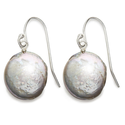 Coin Pearl Earrings - silver/grey