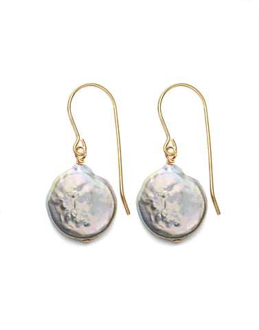 Coin Pearl Earrings - gold/grey