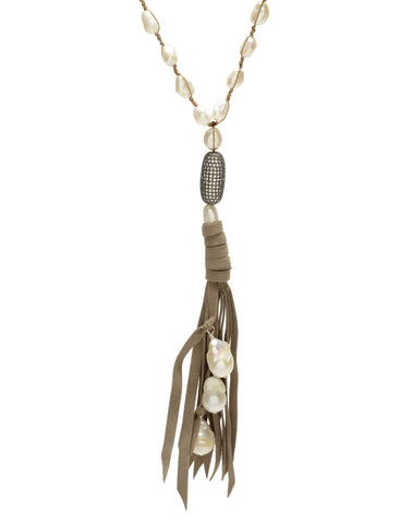 Ella Necklace - white/taupe