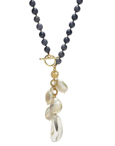 Ellinor Clasp Necklace - blue agate/crystal