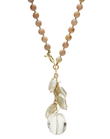 Ellinor Clasp Necklace - pink/moonstone