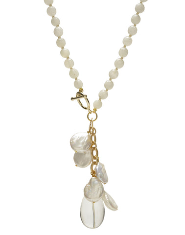 Ellinor Clasp Necklace - white moonstone