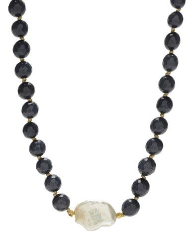 Ellinor Short Necklace - blue agate/pearl