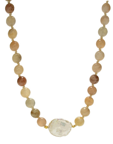 Ellinor Short Necklace - pink moonstone/pearl