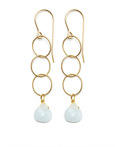 Elsa Earrings - gold/aquamarine