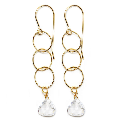 Elsa Earrings - gold/clear