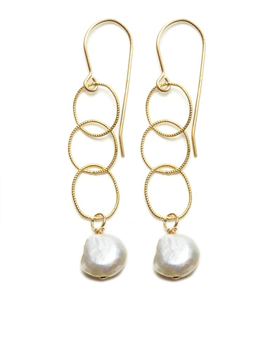 Elsa Earrings - gold/white
