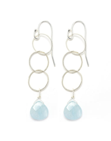 Elsa Earrings - silver/aquamarine