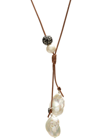 Fia Necklace - saddle/white