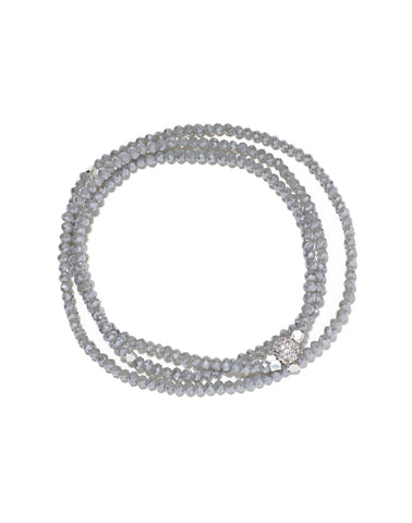 Petra triple wrap bracelet, denim crystals