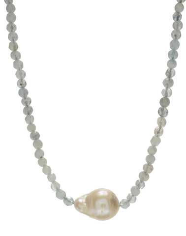 Iselia single Necklace - aquamarine/pearl