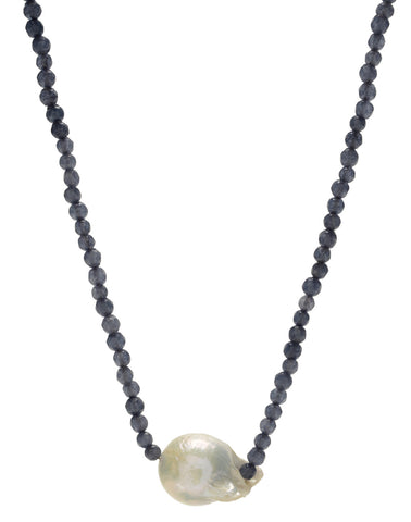 Iselia single Necklace - blue agate/pearl