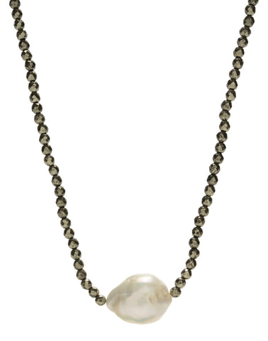Iselia single Necklace - pyrite/pearl