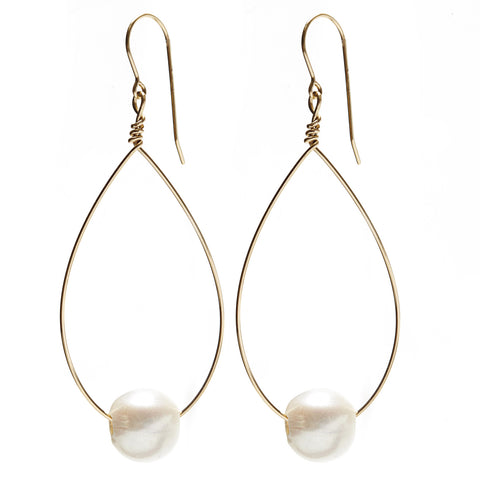 Large Oval Earrings - gold/white