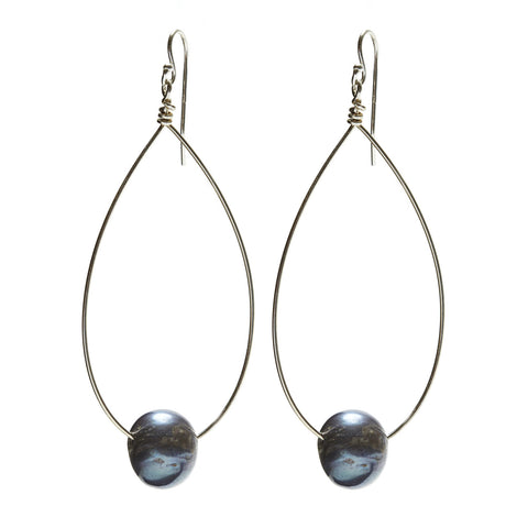 Large Oval Earrings - silver/grey