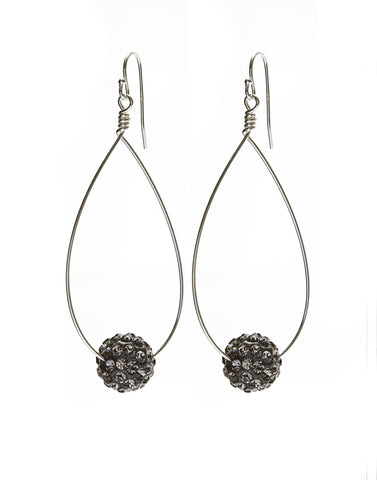 Large Oval Earrings - silver/shambala