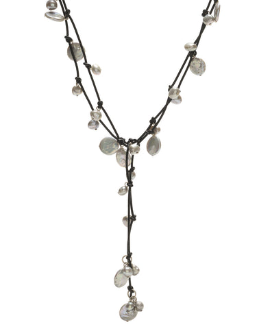 Louise mixed pearl Necklace - grey/black