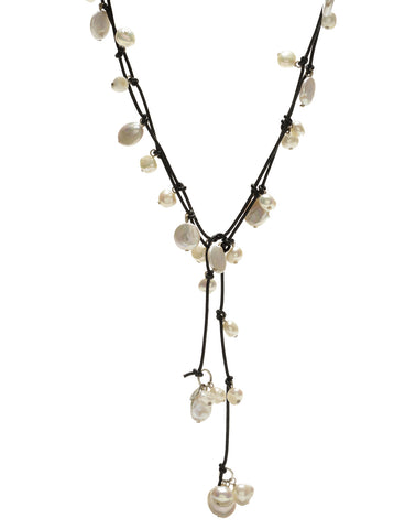 Louise mixed pearl Necklace - white/black